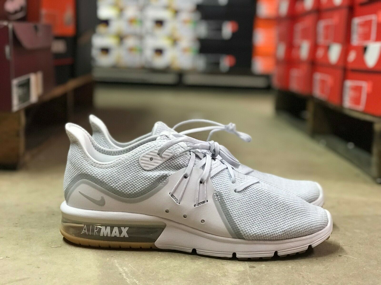 Nike Air Max Sequent 3 Mens Running shoes White Grey Silver 921694-101 NEW All Sz
