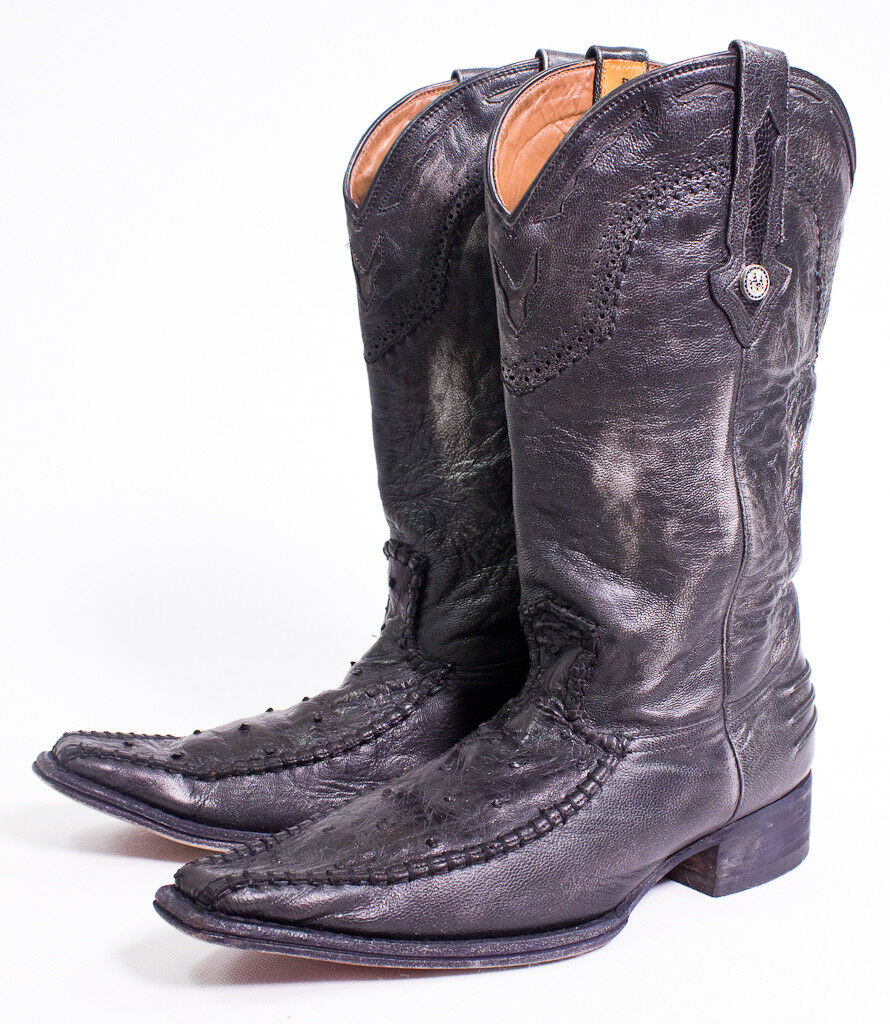 Montana Men's Ostrich Western Boots Size E 9 Made In Mexico Black/Silver