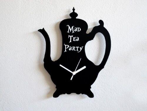 Wall Clock Mad Tea Party Alice in Wonderland Tea Pot Silhouette