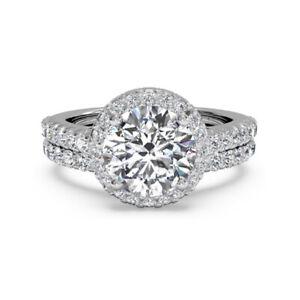 1.60 Ct Round Moissanite Band Set 14K Solid White Gold Wedding Ring Size 4.5 5
