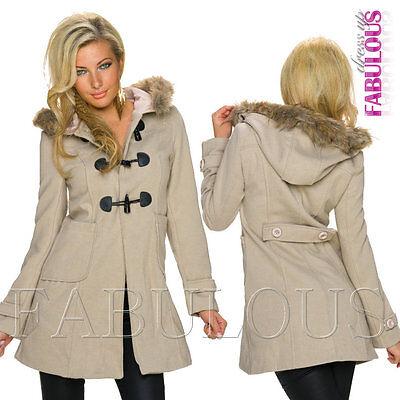 Sexy Women's European Coat Jacket Faux Fur Hood Outerwear Size 8 10 12 S M L