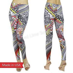 New Black White Aztec Tribal Ethnic Pattern Print Leggings Tight Yoga Pants USA