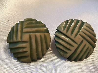 AWESOME Vintage ULTRA CHUNKY Design GREEN Tinted Etched CLIP Earrings 13EE95