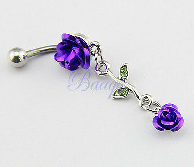 Stainless Steel Double Connecting Purple Rose Belly Bar Navel Ring JW724 MA