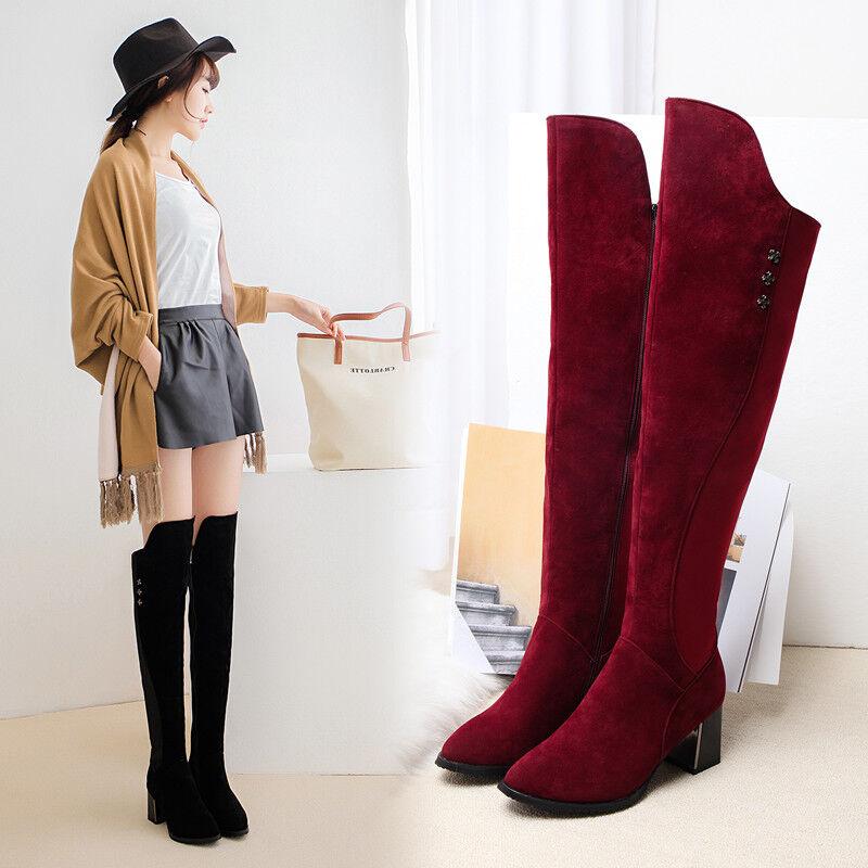 Winterschuhe Damen Schuhe Schuhe Damen Overkneestiefel Kniehohe Stiefel Blockabsatz Gr:34-43 93f22f