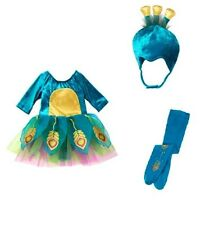 BRAND NEW NWT GYMBOREE PEACOCK COSTUME TUTU DRESS HAT AND TIGHTS SIZE 2T - 3T