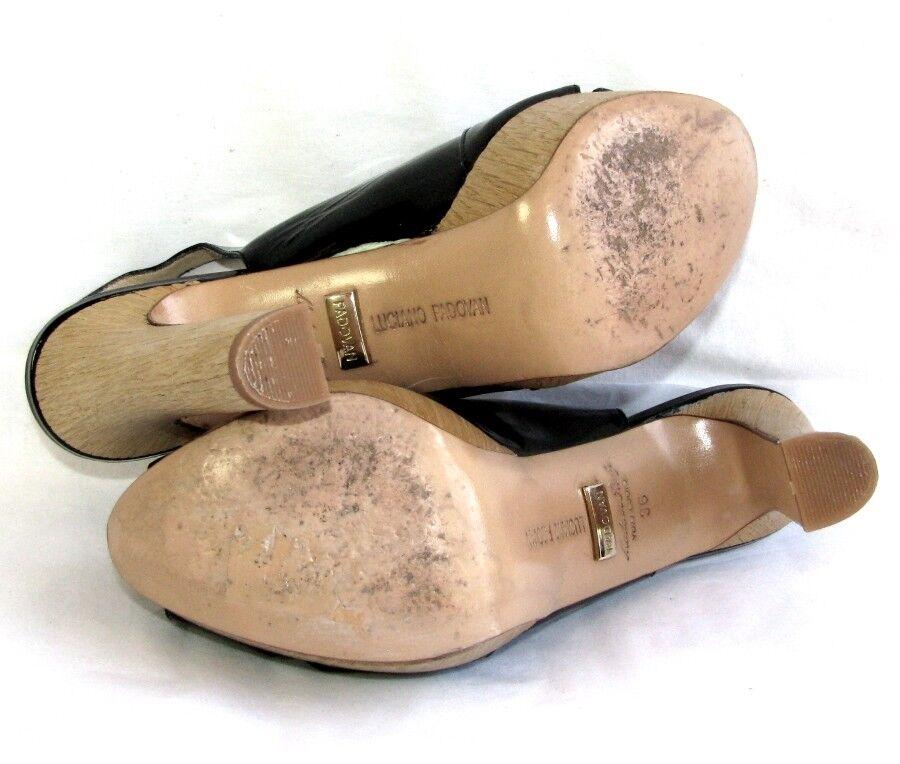 LUCIANO PADOVAN Sandalen Absätze 12 cm & Tablett schwarzes schwarzes schwarzes Lackleder 36  a64dd8