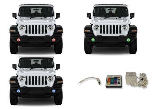 for Jeep Wrangler 18-19 RGB Multi Color IR LED Halo kit for Fog Lights