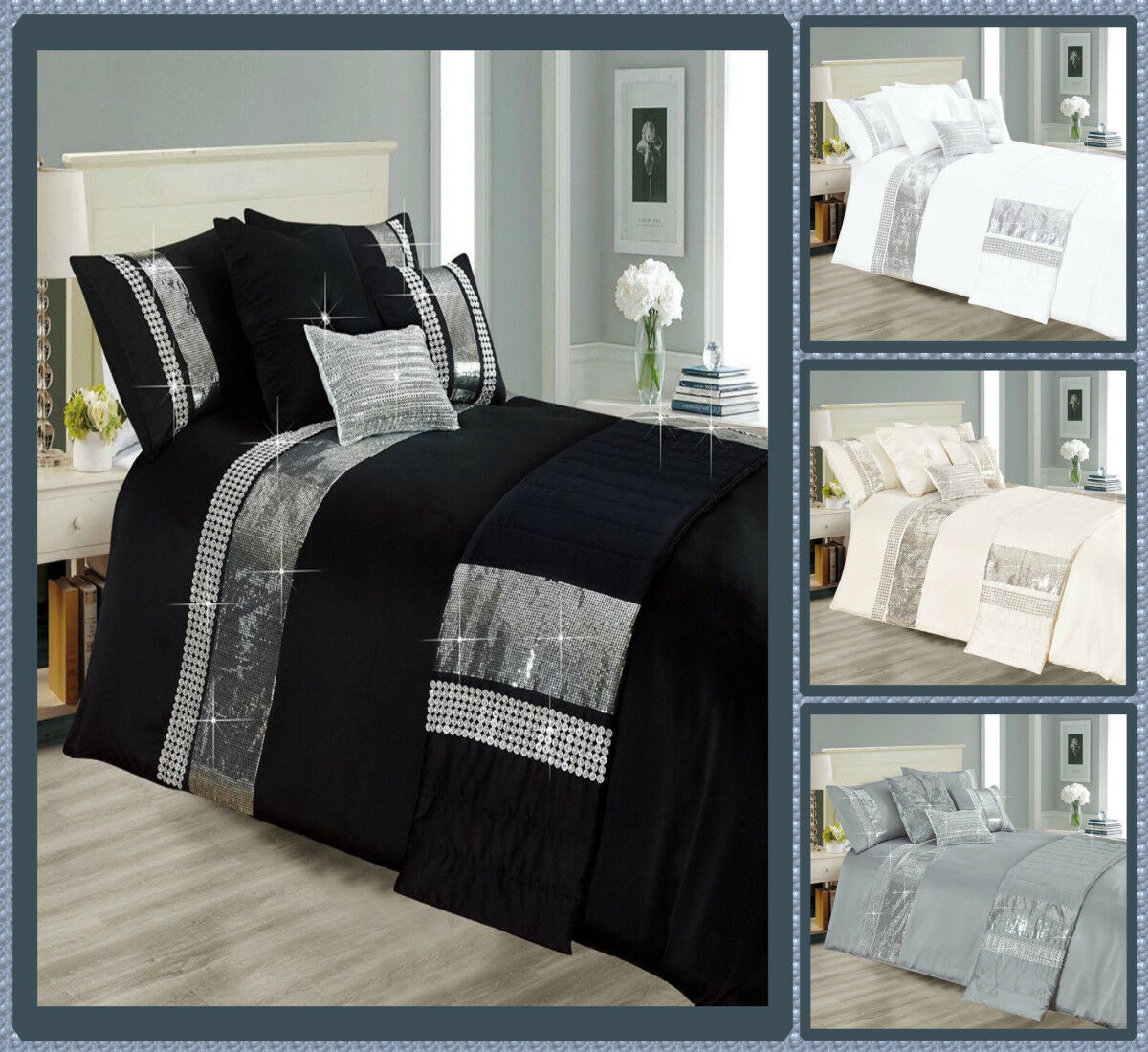 Luxury 5 Pieces Duvet Cover Bedding Set Filled Cushion Pillowcase Cushion Cover