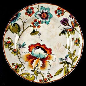 Bella-Vista-222-Fifth-Salad-Plate-Colorful-Floral-Dragonfly-Fine-China