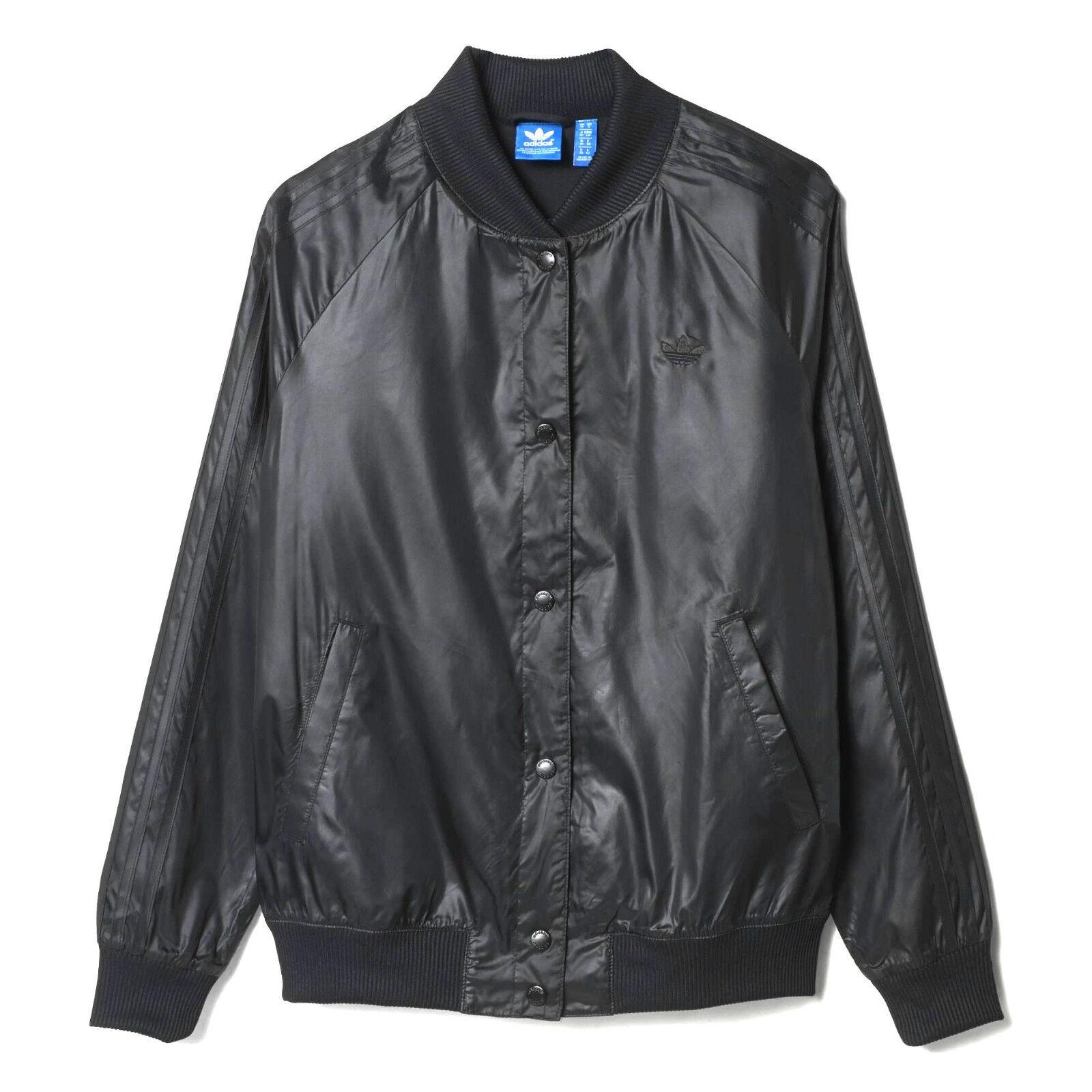 Adidas Womens College Jacket Μαλακό σατινέ νάυλον αποτέλΡσμα S19834 UK 14