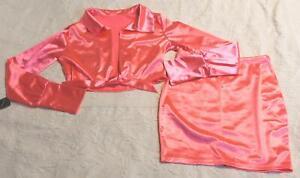 Jurllyshe Women's Turn-down Collar Deep V-neck Knot Skirt Set Am1 Pink Large Nwt Rapid Heat Dissipation