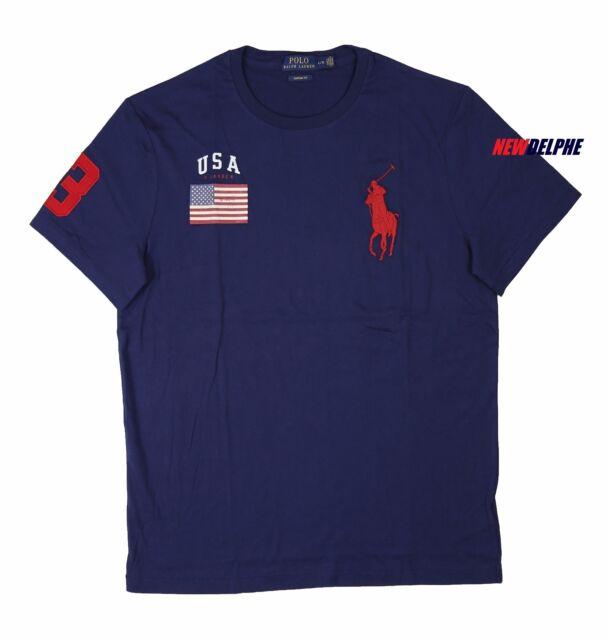 Polo Ralph Lauren Mens Navy Blue USA Flag Big Pony Crewneck T Shirt L | eBay