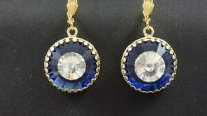 1940-039-s-Stone-Within-a-Stone-Clear-amp-Sapphire-Rhinestone-Round-Dangle-Earring
