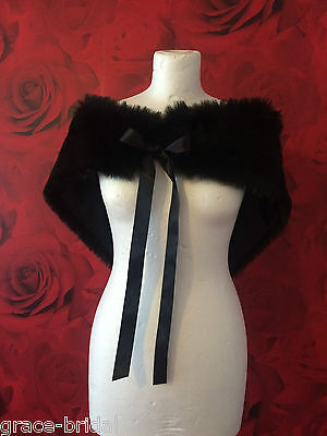 LUXURY BLACK FAUX FUR WRAP SHRUG  JACKET  ASS. SIZES BNIP **free samples**