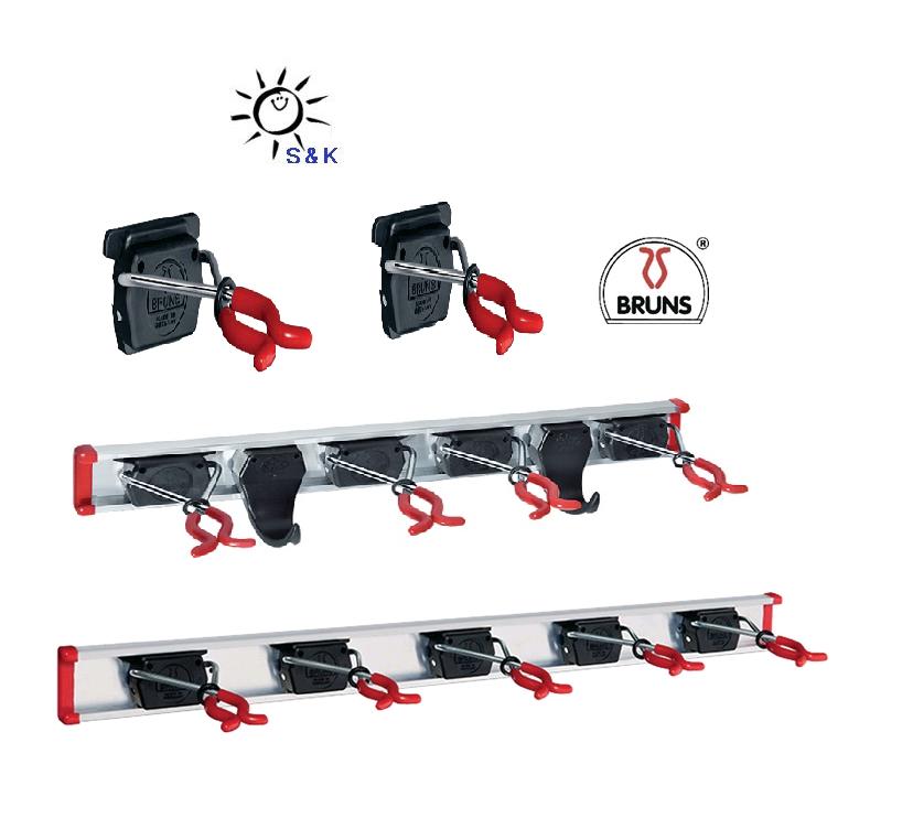 6 Geräte-Haltern und Führungs-Schiene BRUNS Alu-Gerätehalter-Setinkl