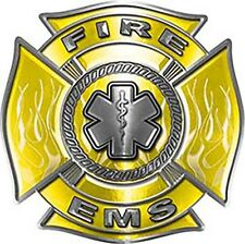 """FIREFIGHTER EMT STATIC WINDOW DECAL Maltese Cross and Star of Life 18/"""" long"""