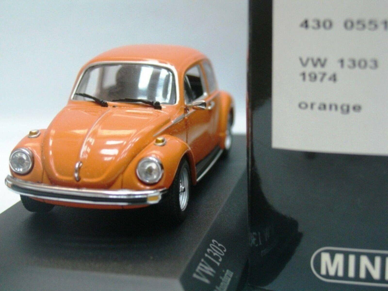 Wow extrêmement rare VW Beetle Käfer 1303 S Saloon 1974 Orange 1 43 Minichamps