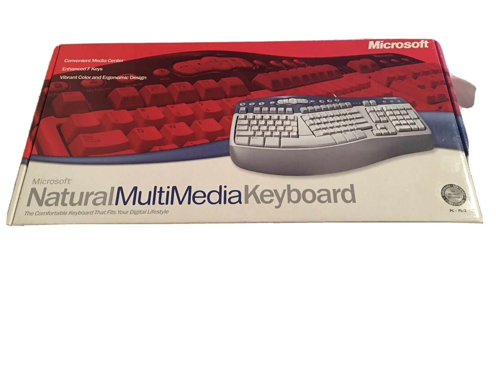 Microsoft Natural Multimedia Keyboard 1.0A PS2 Ergonomic Blue/White. Buy it now for 35.00