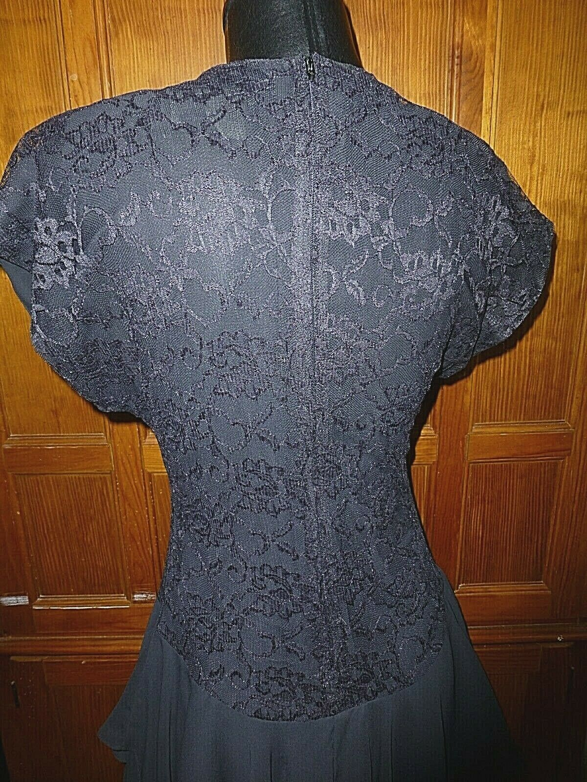 Vtg 80s Black Lace Chiffon Ruffle Evening Prom C… - image 8