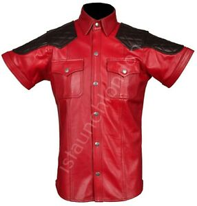 Men-Hot-Genuine-Real-RED-Goat-LEATHER-Police-Uniform-Shirt-BLUF-Gay