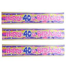 HAPPY 40TH BIRTHDAY PARTY FOIL WALL BANNER 90CM LONG DESIGN REPEATED 3 TIMES
