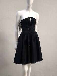 vintage 90's thierry mugler corset lace up dress cotton