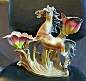vaso-ceramica-italiana-anni-039-50-CAVALLO-FRA-FIORI-senza-marchio-ma-bella-fattura