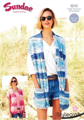 "Stylecraft Knitting Pattern 9242 Long Cable Waistcoats Cotton DK 32-50/"" Ladies"