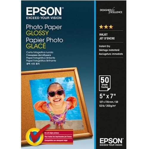 50 Sheets Epson Glossy 200gsm 5R Inkjet Photo Paper 5x7