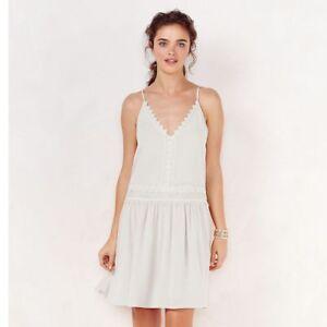 LC-Lauren-Conrad-Women-039-s-Drop-Waist-Dress-Size-S-Bright-White-Lace-Trim-Shift-30