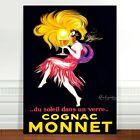 """Vintage Alcohol Advertising Poster Art ~ CANVAS PRINT 24x18"""" Cognac Monnet"""
