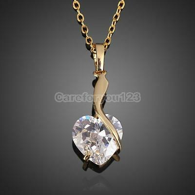 Fashion 18k Gold Plated Crystal Rhinestone Love Heart Shape Pendant Necklace