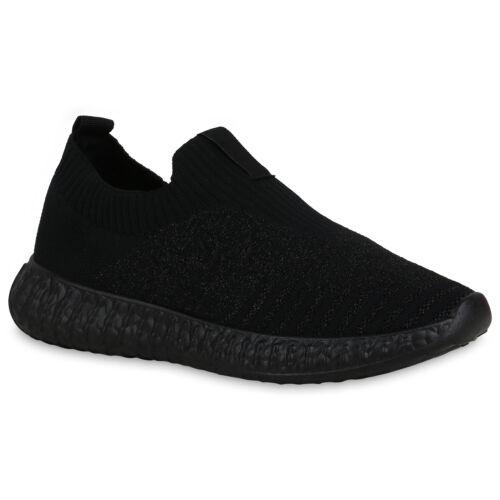 Damen Sportschuhe Slip Ons Sportliche Glitzer Strick-Optik Schuhe 834580 Schuhe