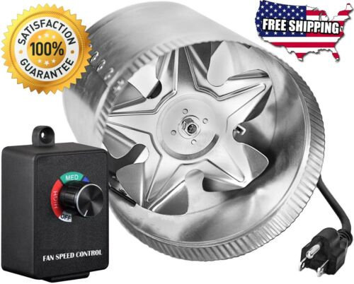 """4/"""" 6 8 in Inline Duct Booster Fan Exhaust Fans Vent Blower Speed Controller Grow"""