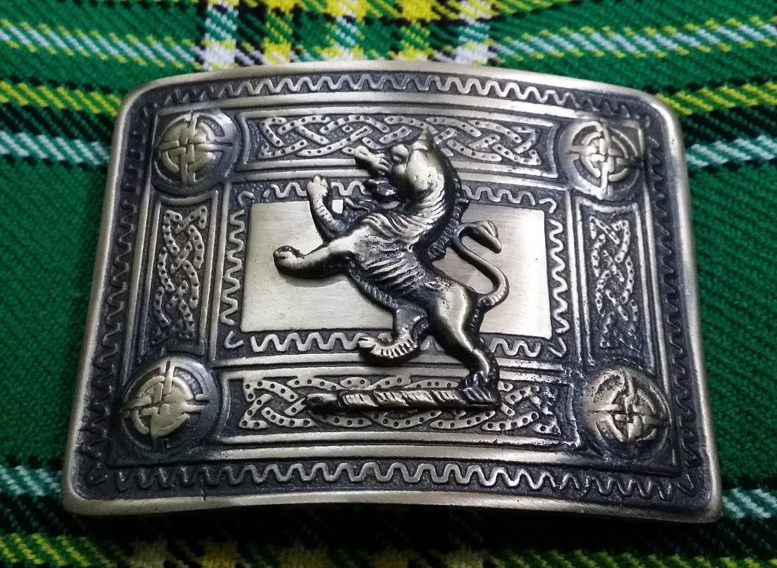 SH Highland Kilt Belt Buckle Lion Rampant Antique Finish Scottish Celtic Buckles