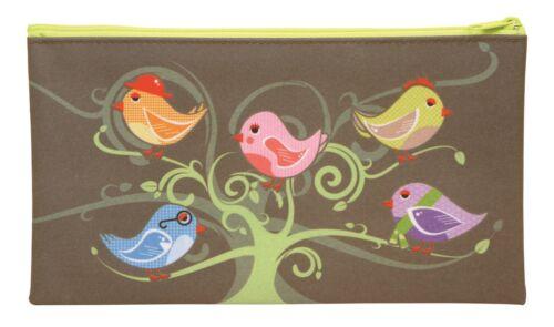 Maped Helix Pencil Case Little Birds Tree Green Zipped School Stationery Office