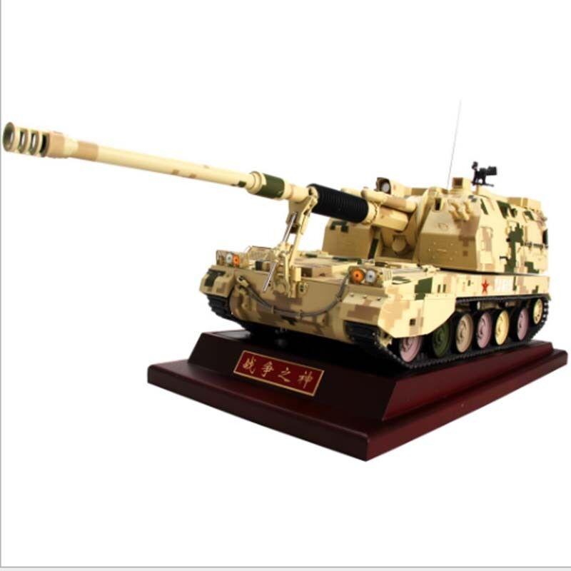 Tanque De Metal PLZ-05 Amarillo Howitzer 1 24 Con Base De Madera Kit de estática del vehículo blindado