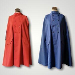 SERBIN All Weather Cape Raincoat Vtg 1950s DRY DOCK Reversible Red Blue MEDIUM