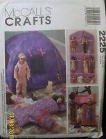 "McCalls 11 1 2"" Fashion Doll Pattern 2225 Tent Organizer Sleeping Bag New Uncut Craft Supplies"