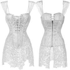 Pop White Bustier Corset Top Burlesque Basque Moulin Rouge Fancy Dress Boned US