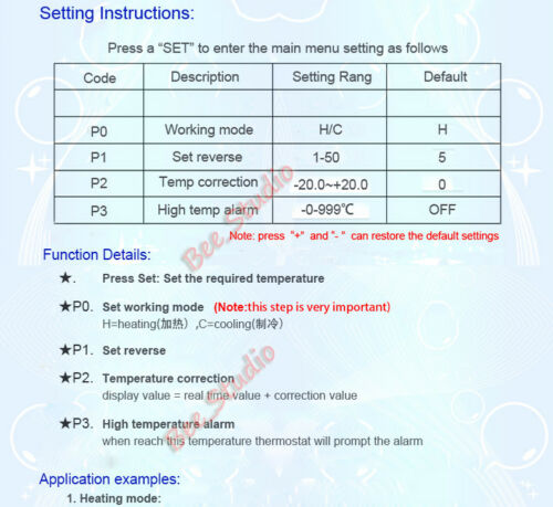 DC 12V 30~999℃ High Temperature Digital LED Thermostat Controller Temp Switch