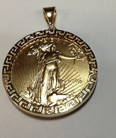 14k Yellow Gold Greek Key Coin Frame Pendant (frame Only)