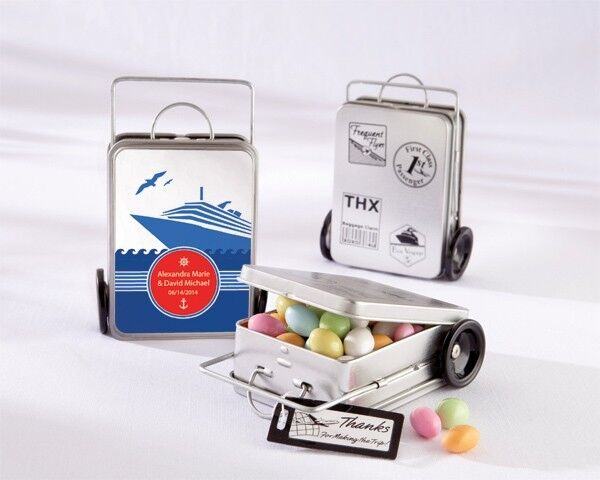12 Miles of Memories Personalized Suitcase Favor Tins Destination Wedding Favors