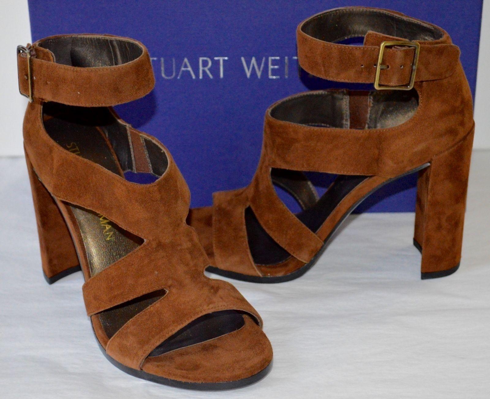 New  435 Stuart Weitzman HiRoller Hi Roller Walnut Brown Suede Sandal Heel