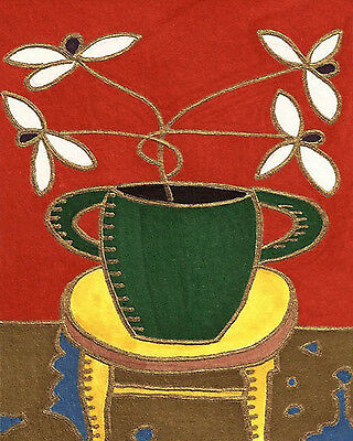 White Flowers Green Vase by David Venee 9x12inch Needlepoint Canvas
