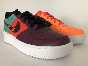 Details about Nike Air Force 1 LV8 GS Sz 6.5Y Bordeaux Hyper Jade Orange Black AT3407 600