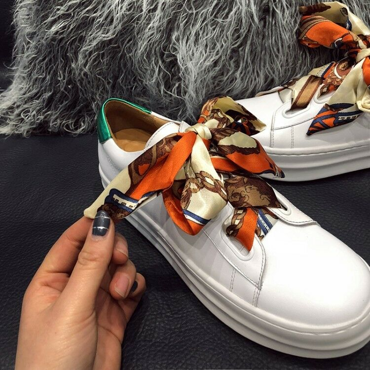 Women's Vitality Printed Satin shoeslace Casual Flat Sport shoes Fashion Sneakers