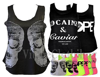 Women's Cocaine & Caviar Dope Double Skull Plus Size Vest Tank Top Shirt 8-20