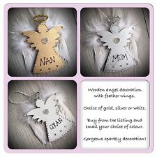 Personalised Wooden Christmas Tree Angel Decoration Feather Wings Sparkly 12cm